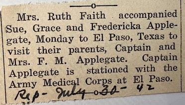 Article about Ted Applegate's office nurse, dated July 30, 1942