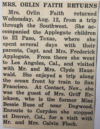 Article about Ted Applegate's office nurse, dated Aug. 12, 1942