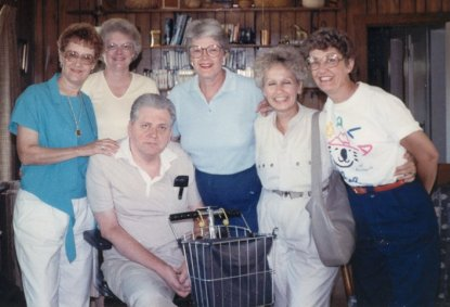 Ann, Sue, Grace, with cousins Betty and Susan Buchanan, 1988, Corydon