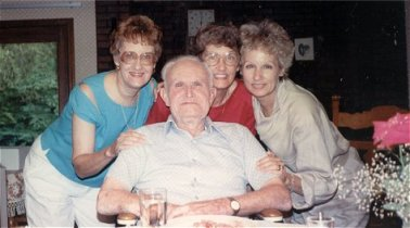 Ann, Grace, Sue with Lowell Sibert, June 1988, Depauw, Indiana
