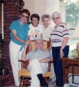 Ann, Grace, Sue, Laura Etta, Lowell Sibert, June 1988, Depauw, Indiana
