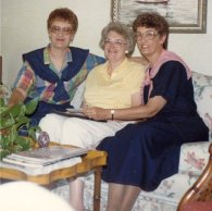 Ann and Grace with cousin Betty Buchanan, 1988, Corydon