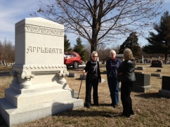 Grace, cousin Betty Buchanan, Jane at Corydon's Cedar Hill Cemetery, 2013
