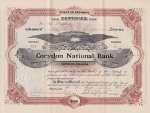 Corydon National Bank certificate