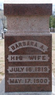 Headstone of Barbara Keller Martin (1819-1900)