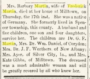 Barbara Keller Martin obit (1819-1900)