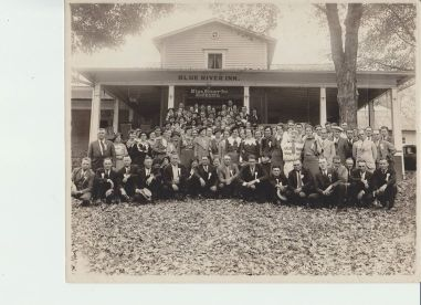 Early photo of a group in front of the Blue River Inn in White Cloud, Indiana