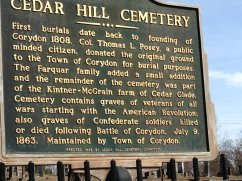 Cedar Hill Cemetery sign, Corydon