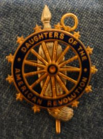 Daughters of the American Revolution pin; probably belonged to Eliza Jane Cole Patten.