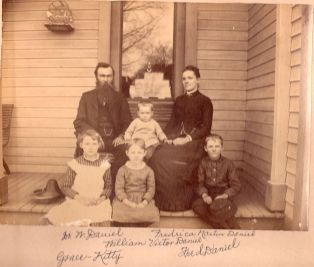 Dr. William Daniel (1852-1931), baby Willie Daniel (1884-1890), Fredrica Martin Daniel (1855-1940), Grace (1877-1957), Kathryn (Kitty) (1879-1966), Fred (1876-1924). Photo taken approx. 1886.