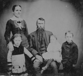 Dr. Wm Daniel, wife Fredrica, Grace on left, Kitty, Fred, apx 1882
