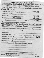 Ted, Army pay card, June 14, 1945
