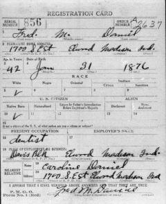 Fred M Daniel draft registration 1917-18