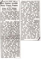 Fredrica Martin Daniel obituary, 1940