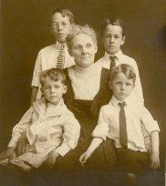 Fredrica Martin Daniel and 4 grandsons (Front, L-R: Wm Frederick Buchanan and William Clark Daniel. Back, L-R, Geo Wm Applegate III and Ted Applegate)