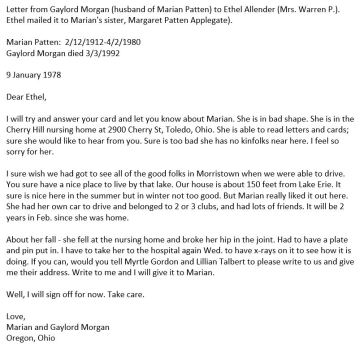 Transcribed letter dated Jan 9, 1978, about Marian Patten, sister of Maggie Patten Applegate