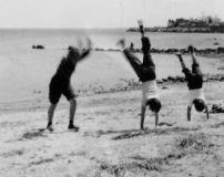 Applegate girls on beach, Stamford, CT 1948