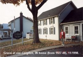 Grace in front of Corydon house, 1998