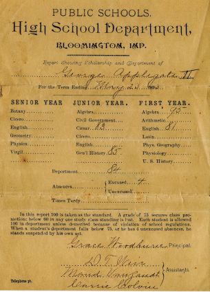 Report card of Papa (G. W. Applegate II), 1893