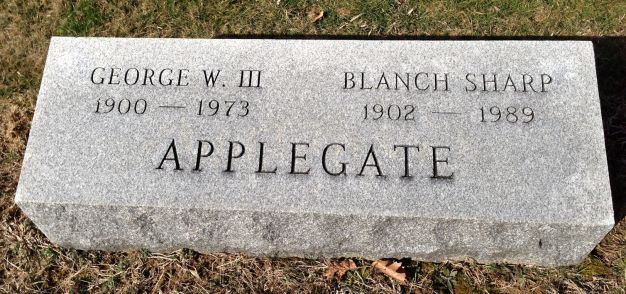 Geo Wm Applegate III and Blanch Sharpe Applegate headstone