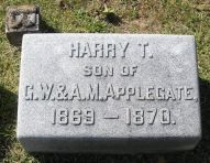 Harry T. Applegate 1869-1870, headstone (brother of Geo. W. Applegate II, 1875-1950)