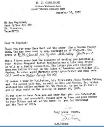 Letter from H. C. Gordon to Ann in 1972