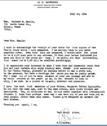 Letter from H C Gordon to Grace in 1964