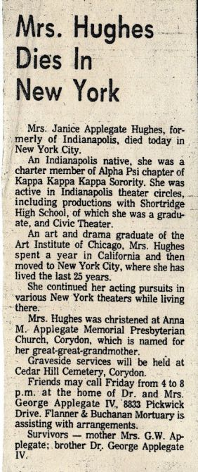 Obituary of Janice Applegate (1926-1979)