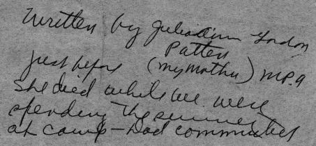 Explanation of note written by Julia Ann Gordon Patten shortly before she died
