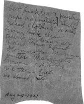 Note written by Julia Ann Gordon Patten shortly before she died