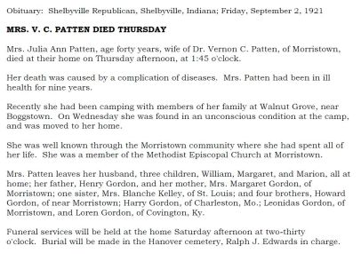 Julia Anne Gordon Patten obit (1882-1921)