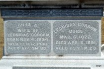 Julia Pond and Leonidas Gordon headstone