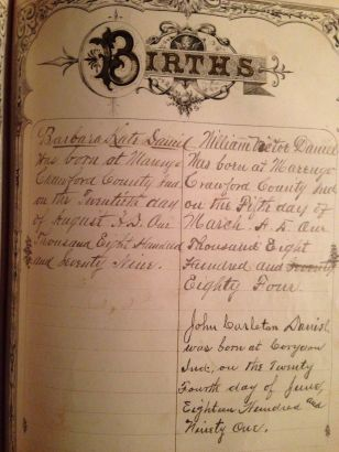 Births of Kitty, Willie and Carlton Daniel recorded in Dr. Wm Daniel's family bible.