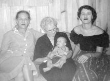 Maggie, Bobbie (Grace Daniel Applegate), Ann, Pete Skylstad, 1955