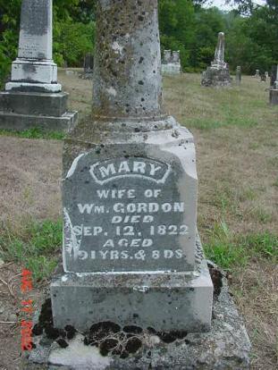 Mary Duedworth Gordon headstone 1731-1822