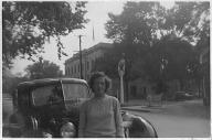 Maggie in front of Corydon home
