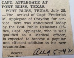 Newspaper clipping about move to Ft. Bliis, 1942