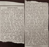 Clipping about wedding of Bobbie (Grace Daniel) and Papa (G. W. Applegate II), 12 Oct. 1898.