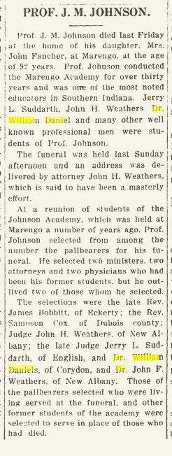 Article about Dr. Wm Daniel acting as pallbearer for a former professor.