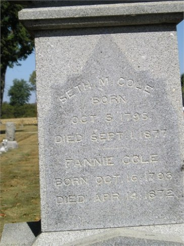 Seth and Fannie Cole headstone