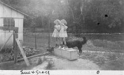 Sue, Grace and Shep on Sibert's farm, 1943