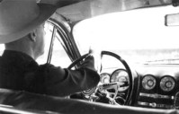Ted driving 1949 Buick station wagon