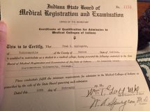 Ted's certificate to allow him to enter Indiana medical schools, 1926