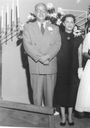 Ted and Maggie at Ann's wedding, April 1954