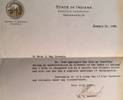 Reference for Ted from Indiana Governor Branch, 1925.