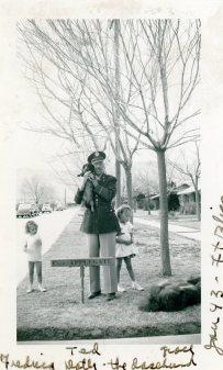 Ted, Rica, Grace, Dottie Dachshund, Jan 1943
