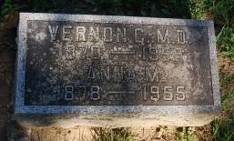 Vernon Cole Patten and Anna Mauzy Patten headstone