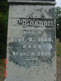 William Gordon headstone 1779-1860