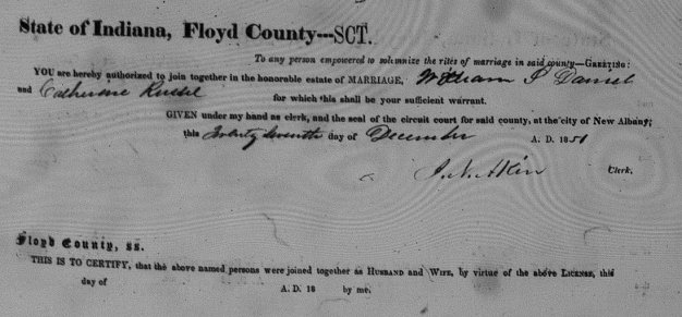 Wm S Daniel and Catherine Russell, Dec. 27, 1851, Floyd County Marriage Records Book 3 pg 397