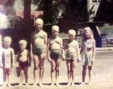 Barb, Ford Miles, Grace, Rica, Jackie Miles, unknown, Corydon, 1947